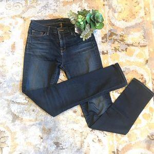 J brand dark wash mid rise skinny jeans in size 28